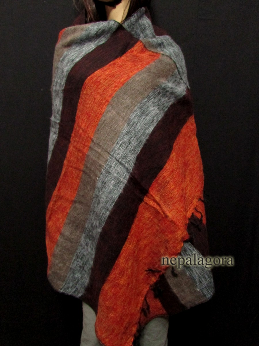Handloom yak wool stole Multicolor shawl - Sw114