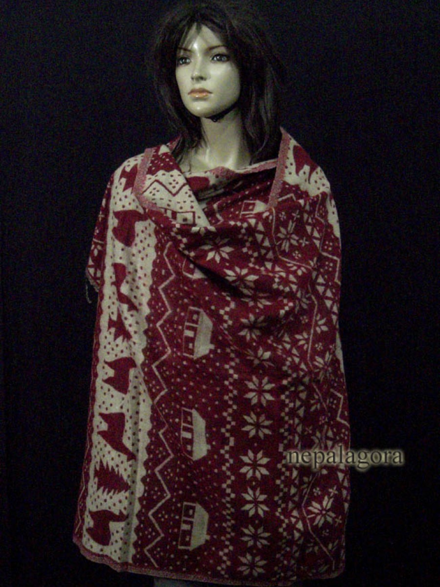 Handloom yak wool stole reversible shawl - Sw10