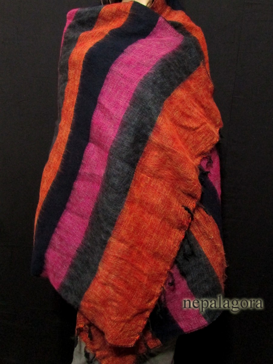 Handloom yak wool stole Reversible shawl - Sw110