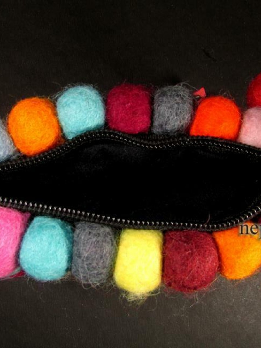 Handmade Multi Color Felt Coin Purse - F69