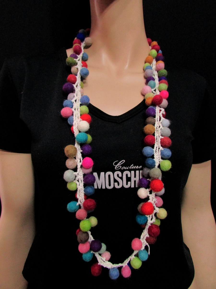 Handmade Multicolor Felted Ball Necklace - F130