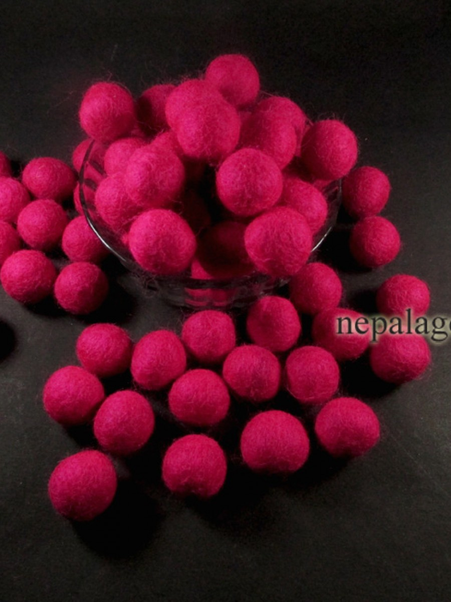Handmade Pink pure wool pom pom 2 cm / 20 mm craft beads wholesale Nepal - F109