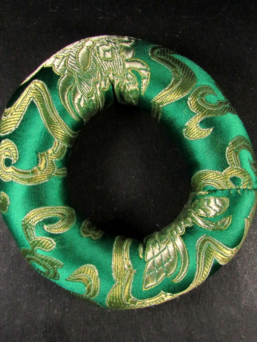 Handmade silk brocade round 10cm singing bowl cushion ring pillow Nepal - SBC223