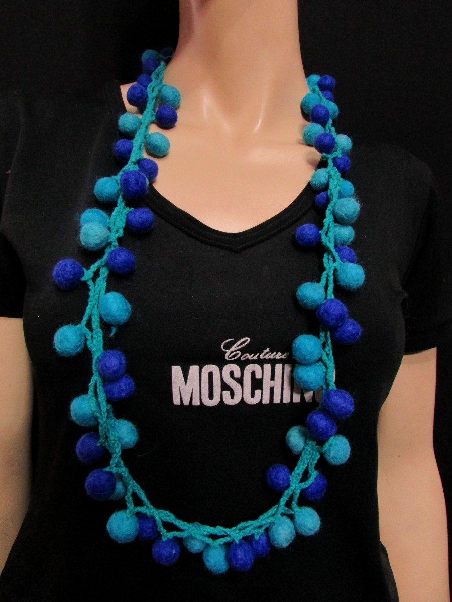 Handmade wool Blue Felted Ball Necklace - F129