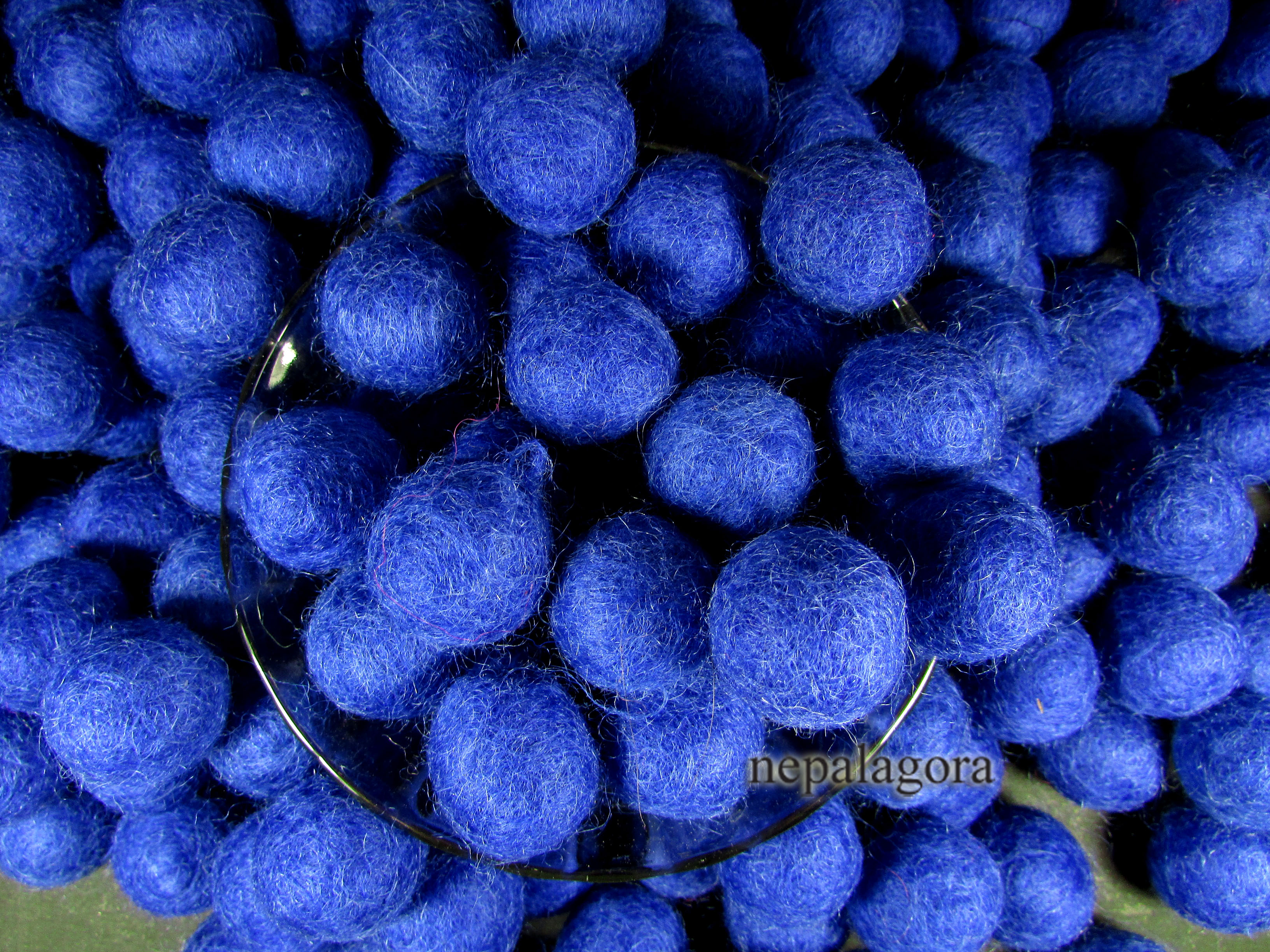 Handmade Wool Felt Ball 2cm Dark Blue Beads Kids Craft Garland Decor Nepal Nepal Agora