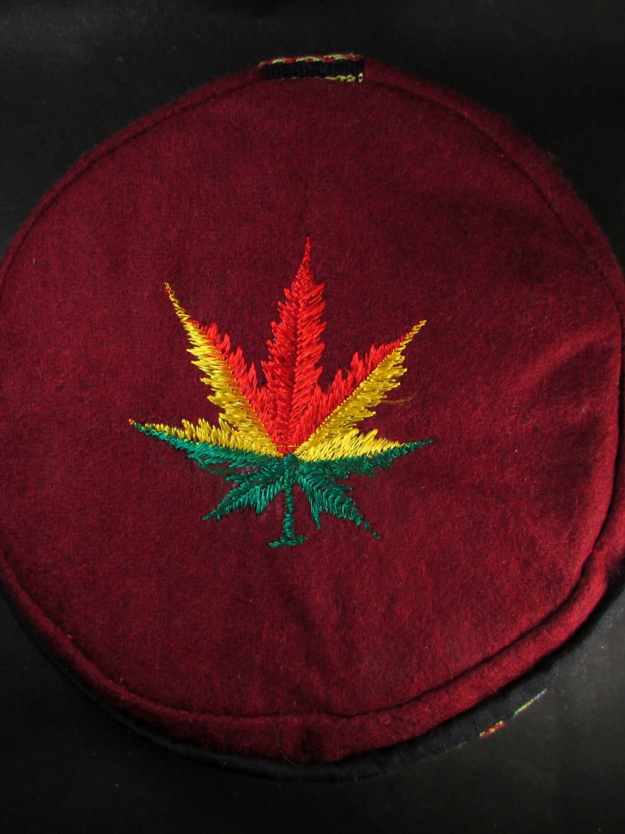 Hemp Leaf Embroidery Maroon cap HAT - C910