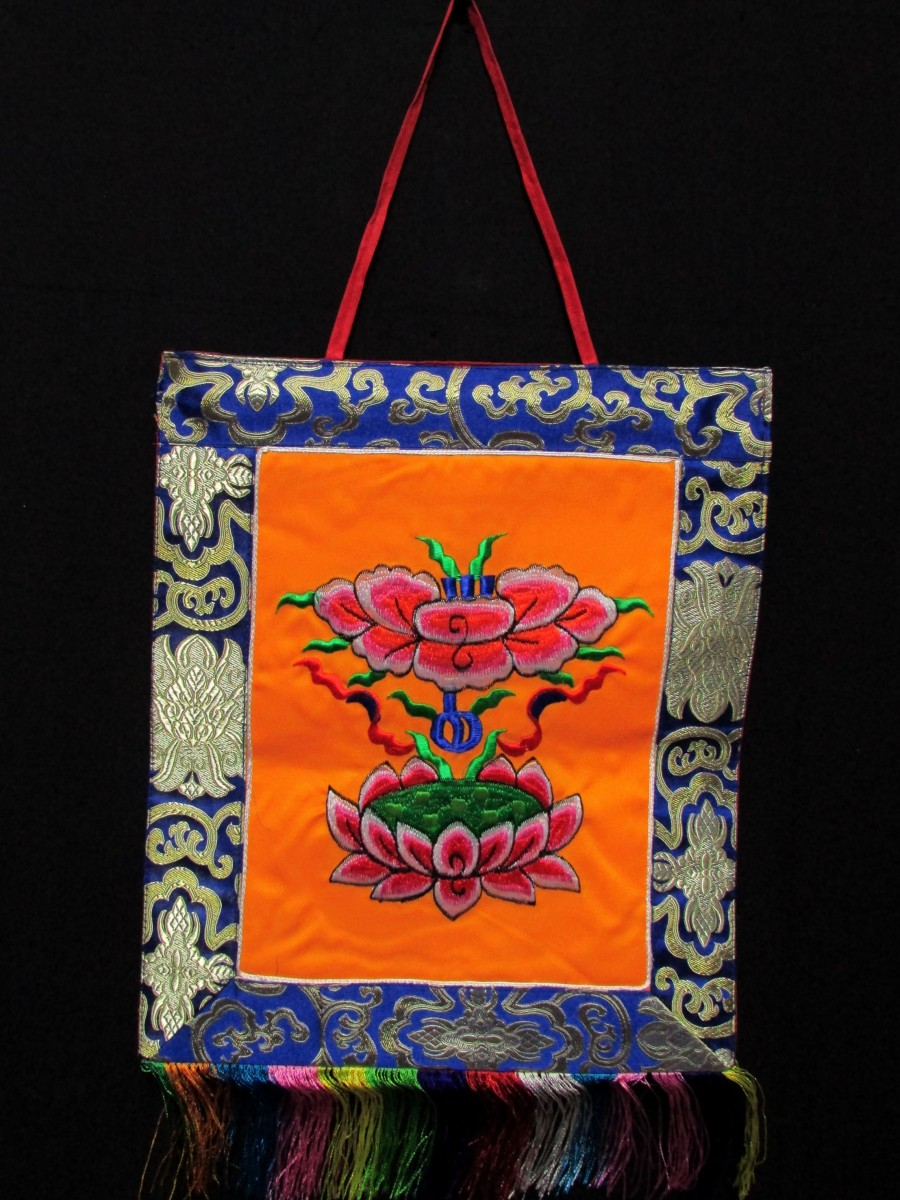 Lotus Embroidered Wall Hanging Thanka - Th170
