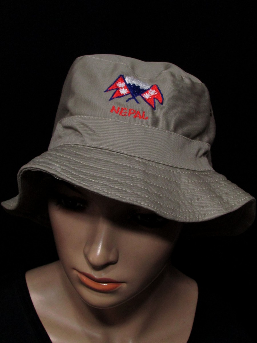Nepal Flag embroider Fishing Bucket HAT - C341