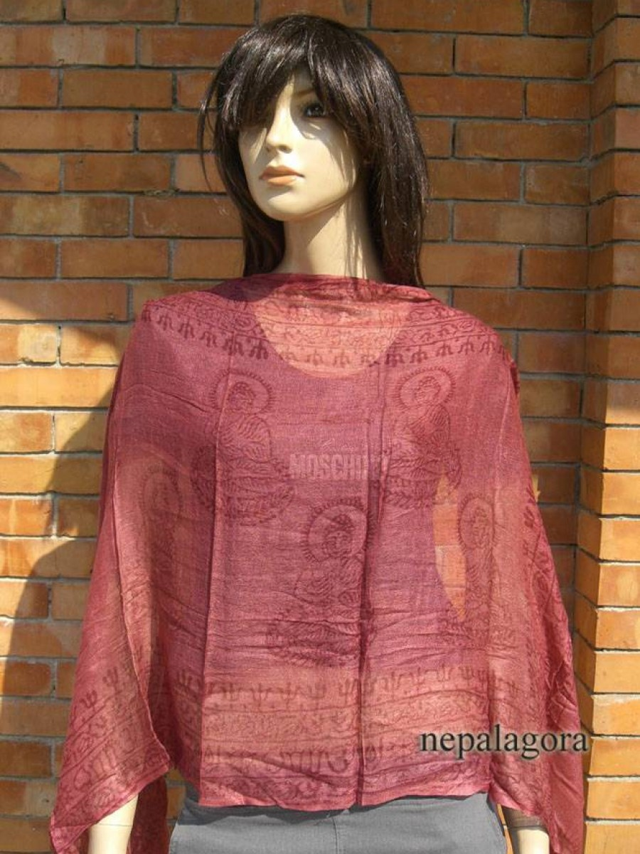 Om Buddha cotton Prayer Maroon Shawl - Scn108