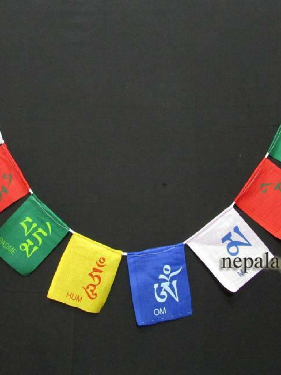 Om Mani Padme Hum Mantra 5 Rolls Prayer Flags - PF92