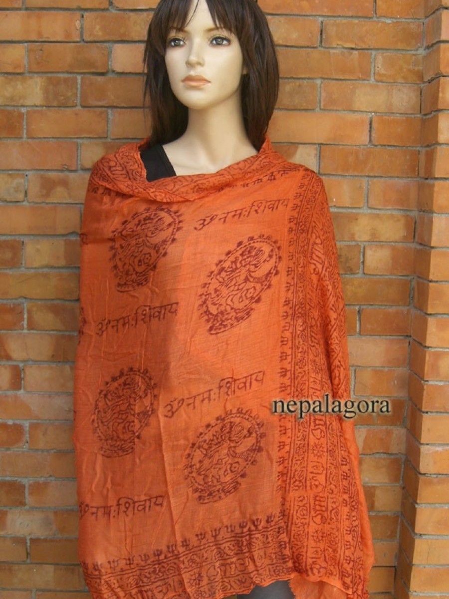 OM Natraj prayer Chant Orange Large scarf - Sc237