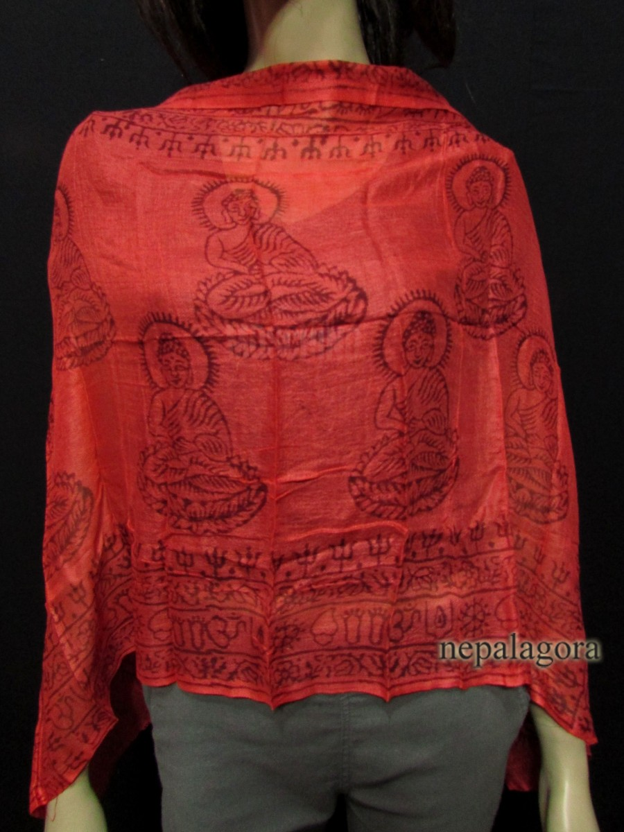 OM sacred Mantra Red cotton scarf Nepal - Scnp210