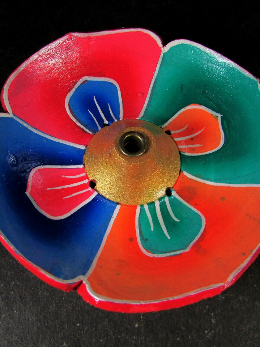 Round Lotus Wood Incense Holder - IH4