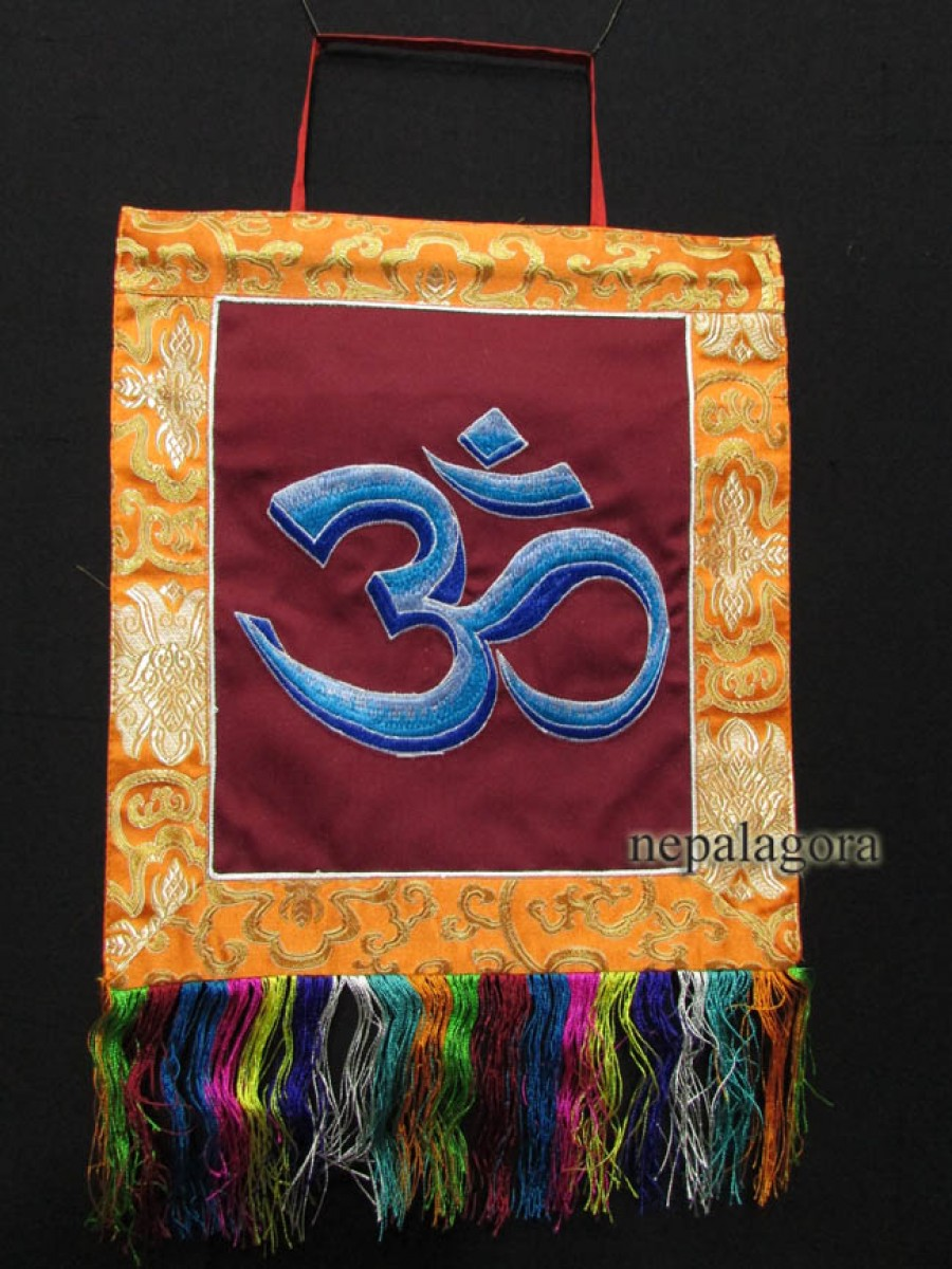 Sanskrit Om Embroider Wall Hanging Thanka - Th93
