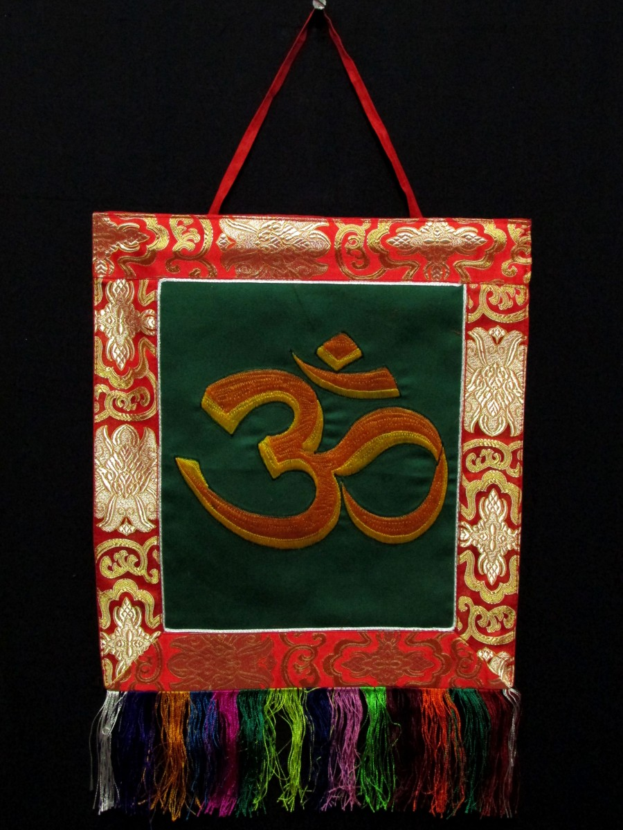 Sanskrit Om Embroidered Hanging Thanka - Th206