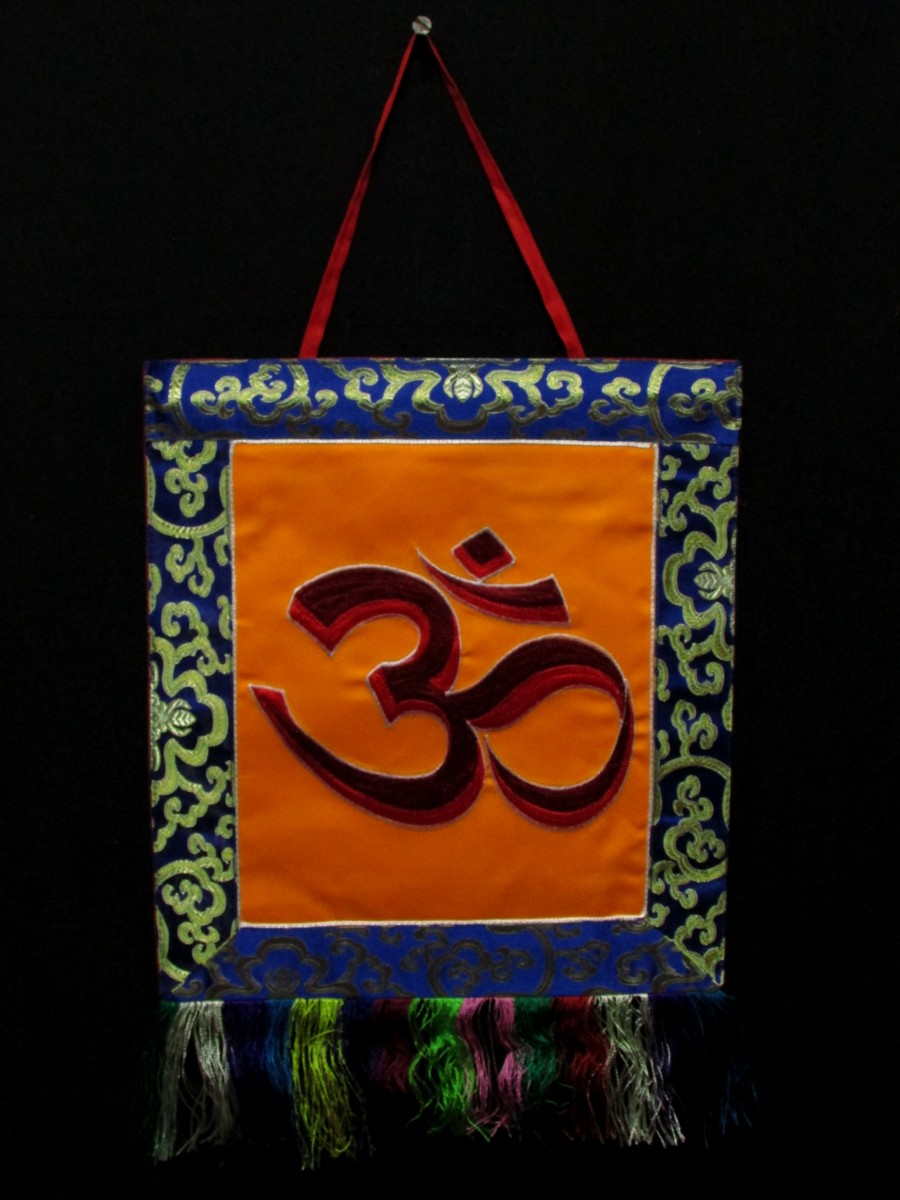 Sanskrit Om Embroidered Hanging Thanka - Th209