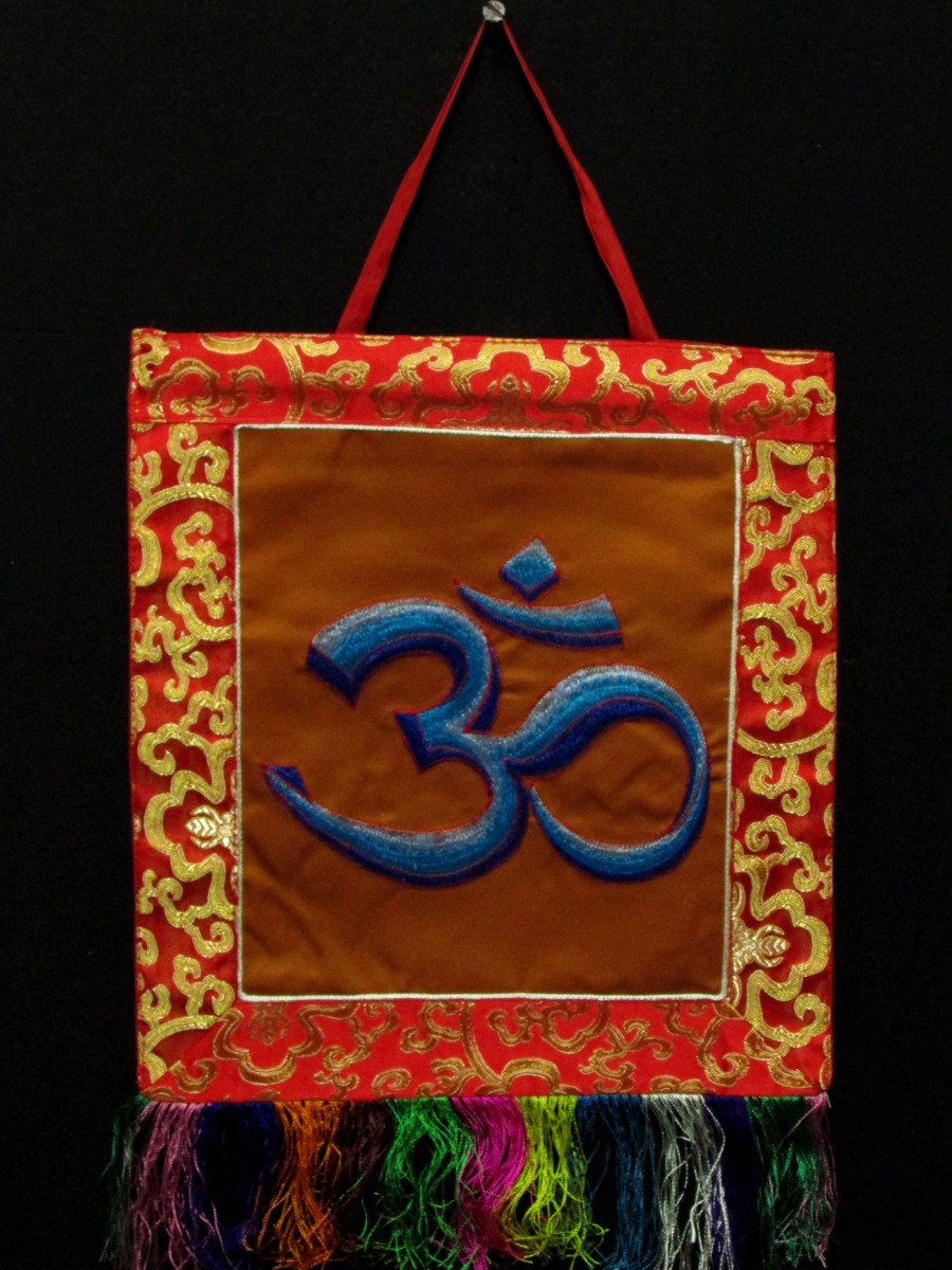 Sanskrit Om Embroidered Hindu Wall Hanging Brocade Thangka Thanka Nepal - Th204