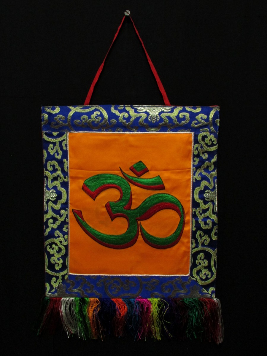 Sanskrit Om Wall Hanging Brocade Thanka - Th208