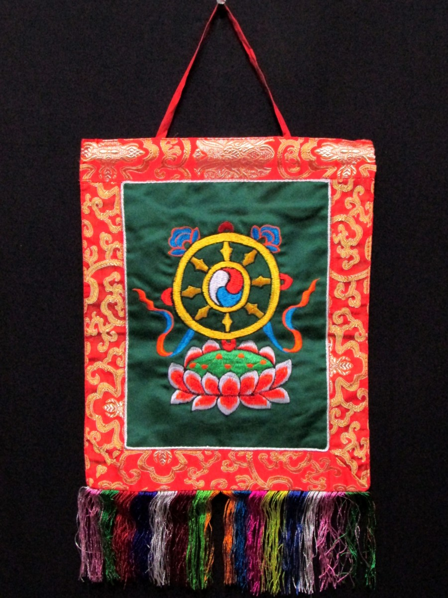 Tibetan Dharmachakra Embroidery Wall Hanging Brocade Thangka Thanka Nepal - Th160