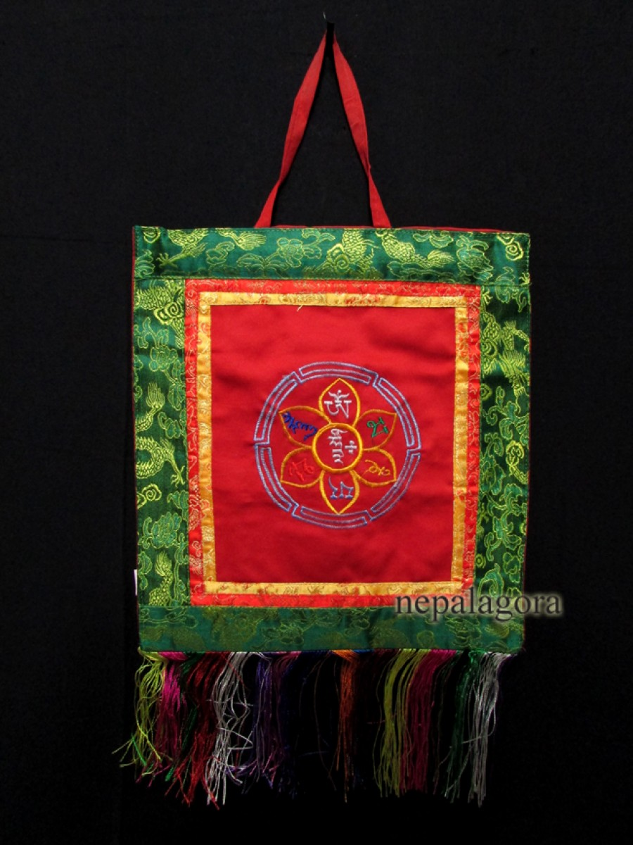 Tibetan Om mantra Embroidered Thanka - Th45