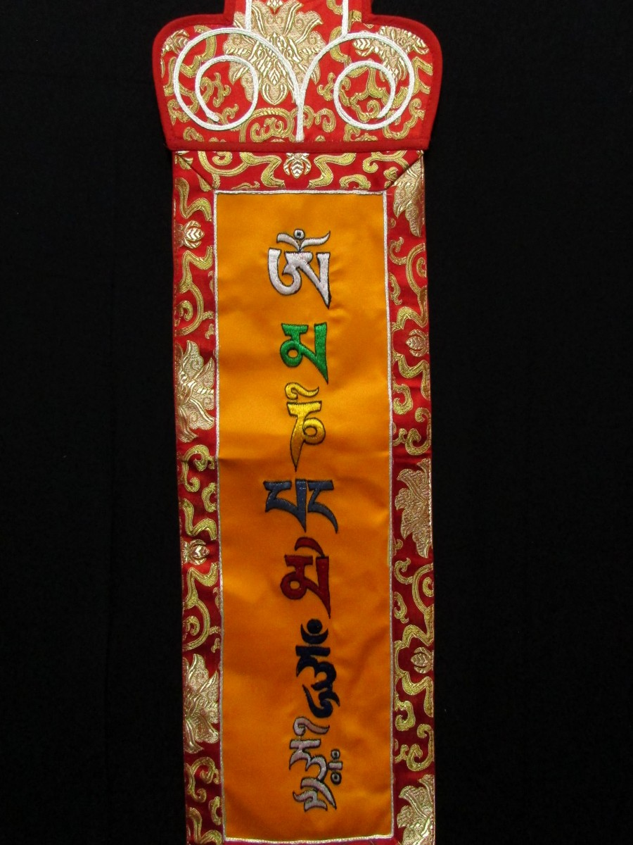 Tibetan Om Mantra Embroidered Wall Hanging Brocade Thangka Thanka Nepal - Th210