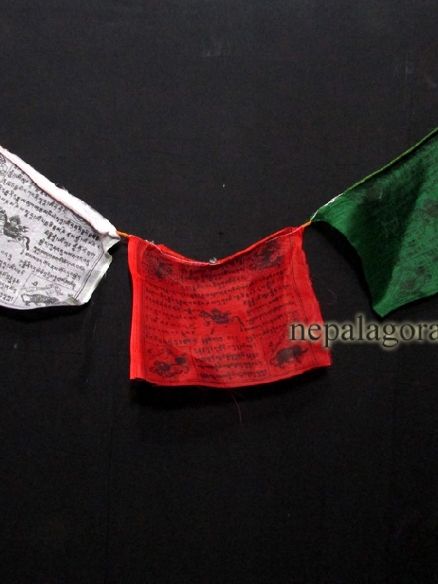 Tibetan Om Windhorse Mantra Prayer Flags - PF99