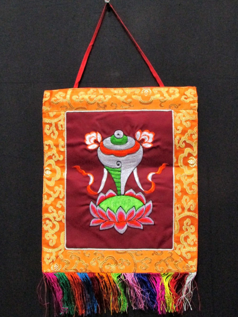 Tibetan Wall Hanging Auspicious sign Conch Embroidery Thangka Thanka Nepal - Th142
