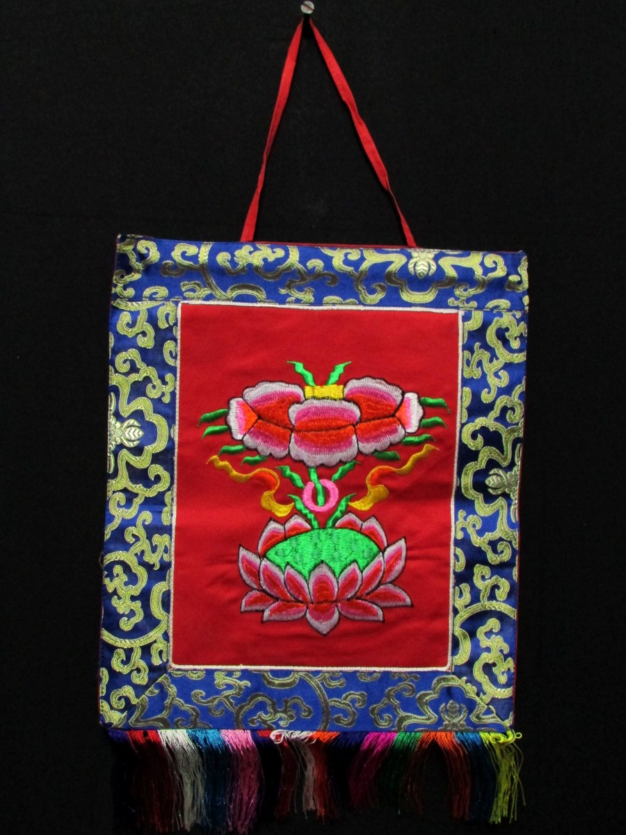 Wall Hanging Lotus Embroidered Thanka - Th169