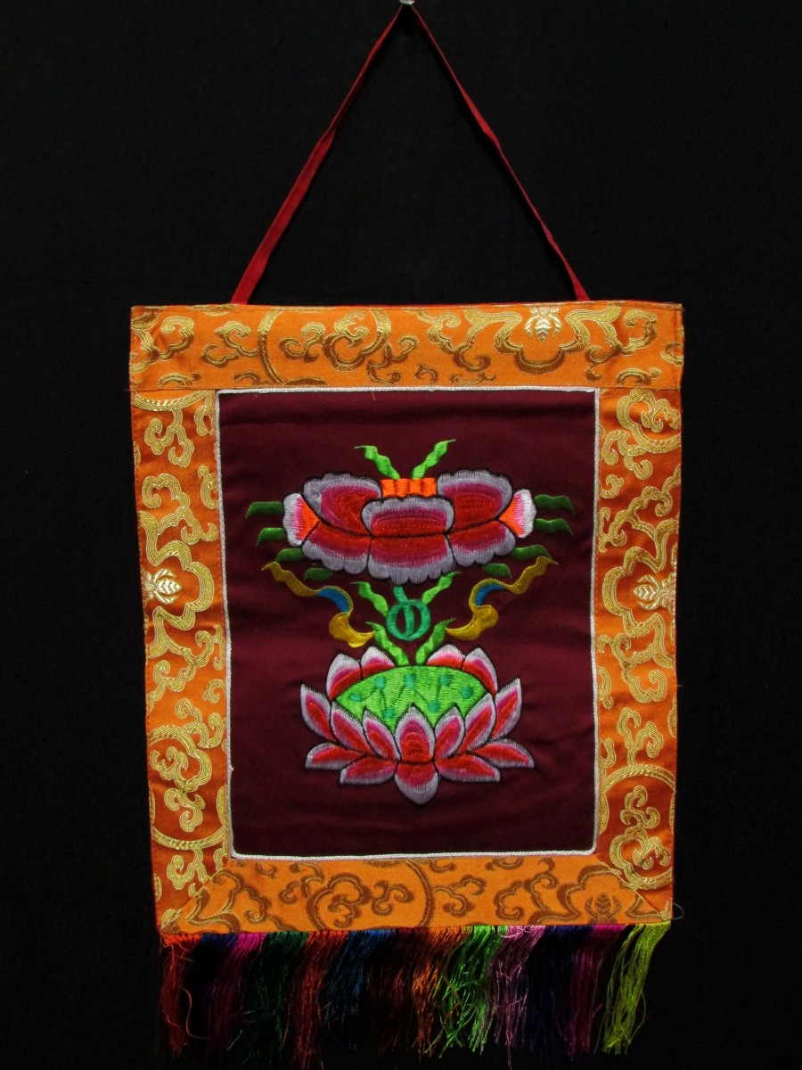 Wall Hanging Lotus Embroidered Thanka- Th172