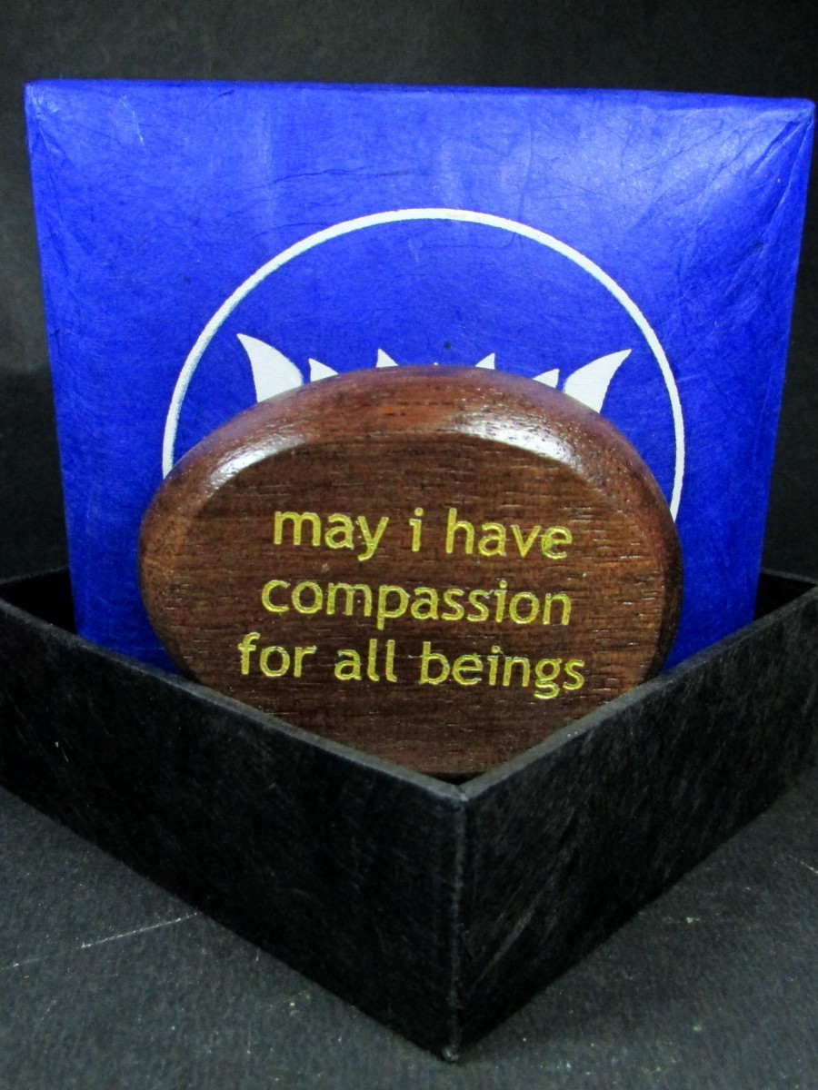 Wood Compassion Quote Phrase Lokta box - QB3