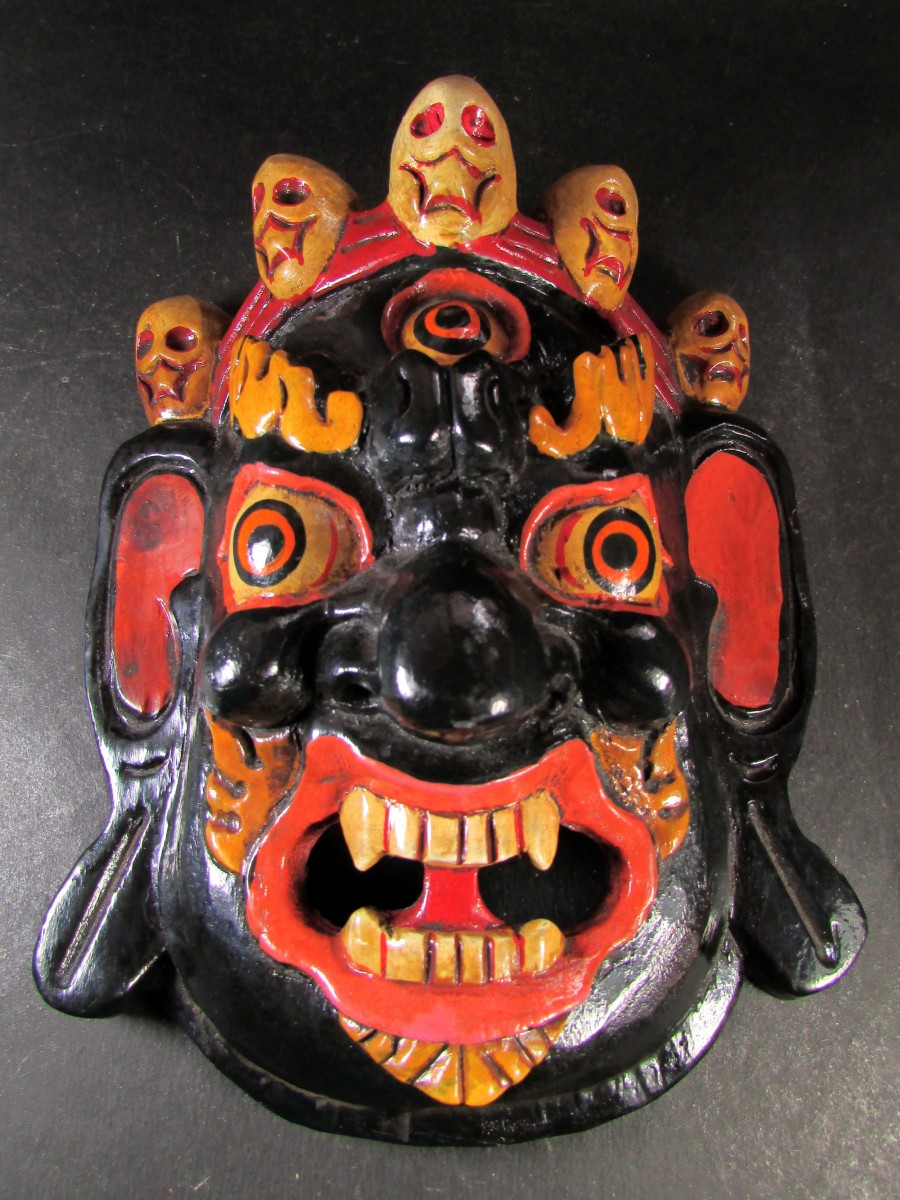Wooden Craft Bhairav Mask Wall Hanging - M454