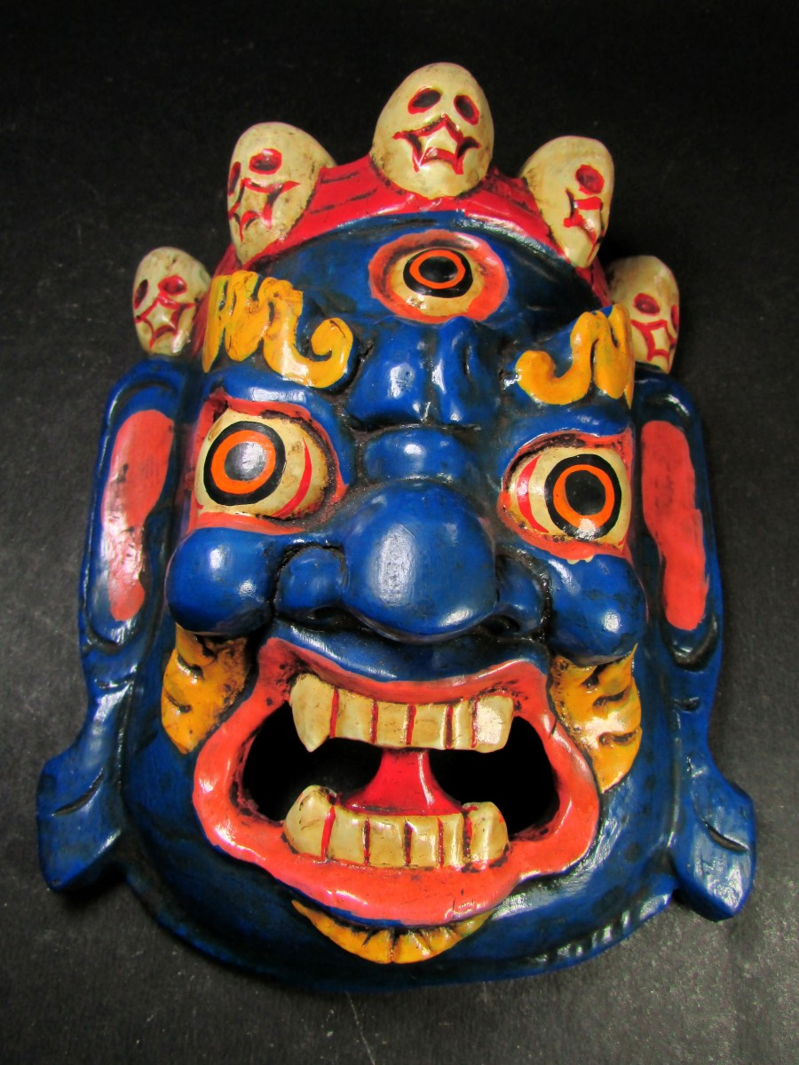 Wooden Craft Bhairav Mask Wall Hanging - M456