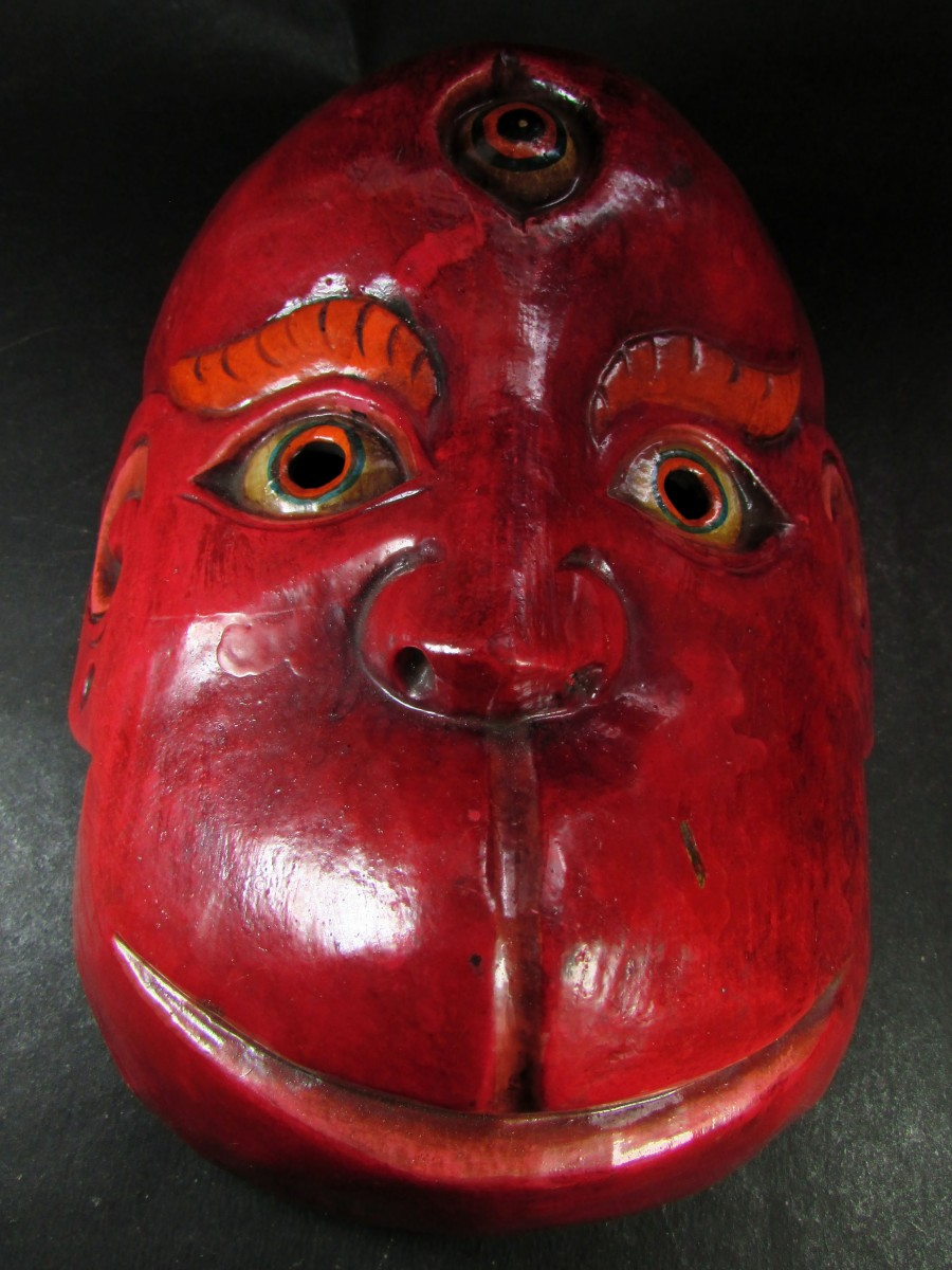 Wooden Hanuman Art Mask wall Hanging - M453