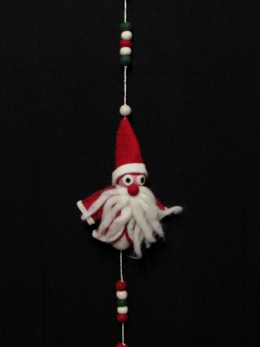 Wool Felt Ball Christmas Santa wall hanging - F148