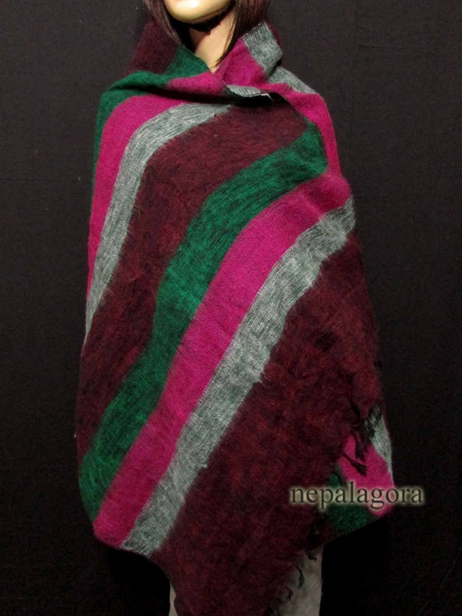 Yak wool Reversible shawl Throw Nepal - Sw115