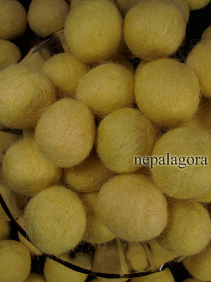 Yellow color felt ball 2cm hand crafted bead - F82